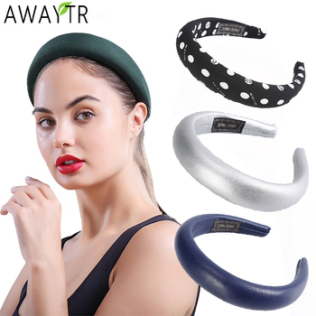 AWAYTR Thick Sponge Solid PU Hairbands Hair Hoop Wide Cotton Dot Print Headbands For Women Girls Head Bands Hair Accessories awaytr solid color satin rose flower headbands for women head bands bezel hairbands women girls hair accessories hair hoop