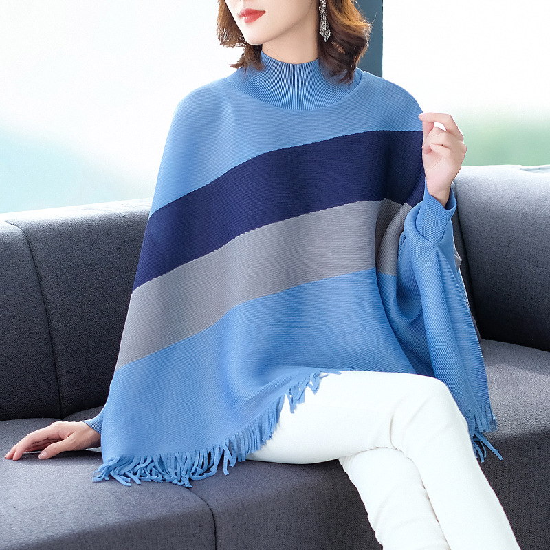 Camiseta talla grande mujer 2019 otoño invierno nuevo cuello alto manga de murciélago Tops gran estiramiento Miyake plisado borla suelta camiseta