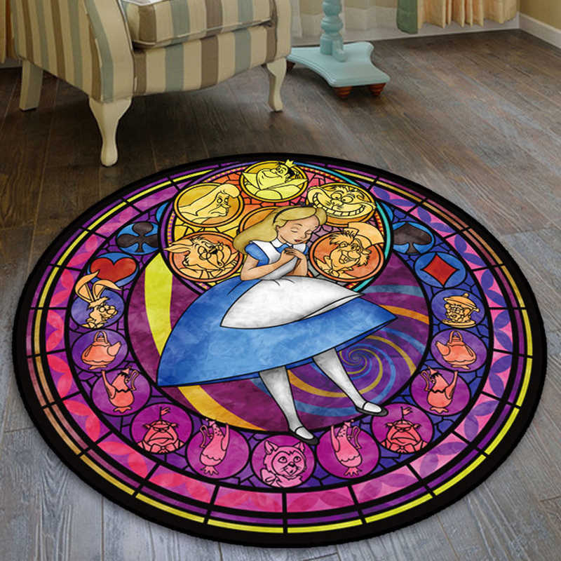 Dessin animé Alice au pays des merveilles Circel Velboa tapis de sol tapis chambre paillasson tapis antidérapant