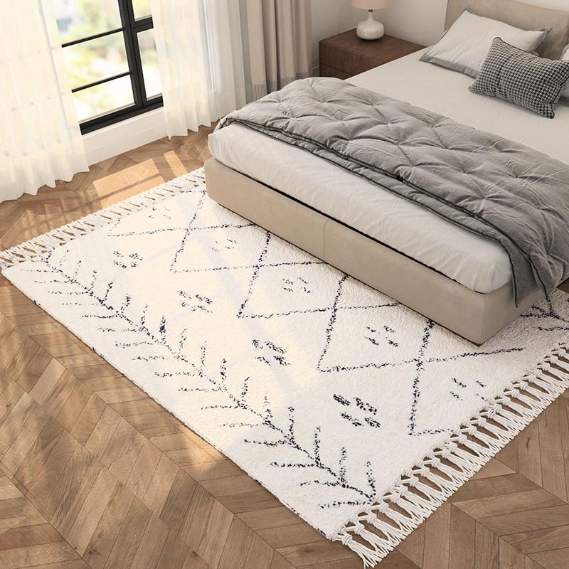 Morocco Handmade Kilim Carpet Living Room Geometric Plaid Livingroom Rug Beige White Turkey Home Bedroom Carpet With Tassel