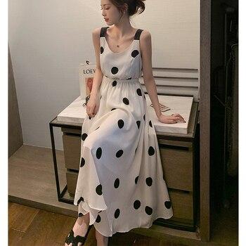 2020 Summer Plus Size 4XL Women Dress Belt Bow Sleeveless Ladies Vestidos Print Dot Elegant Dress Off the Shoulder Brnd Robe 4