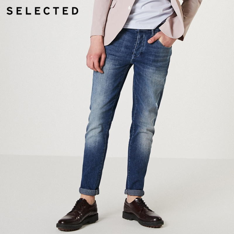 SELECTED Men's Autumn Slight Stretch Denim Pants Buttoned Tapered Jeans I|419332507