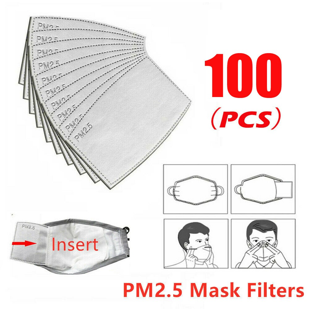 100pc Disposable Mask Gasket PM2.5 Protective Mouth Mask Gasket Activated Carbon Anti-bacterial Filter Insert Filter Face Cover%