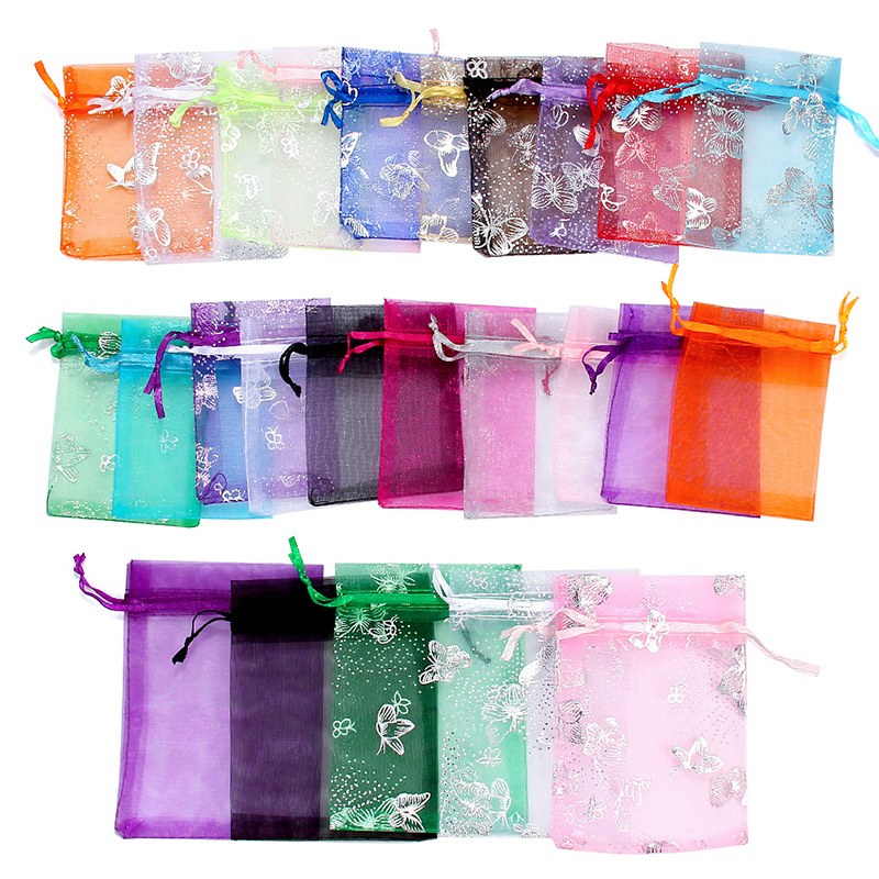 50pcs Multi-color 7x9 9x12 Organza Bags Jewelry Packaging Bags Wedding Party Decoration Drawable Bags Gift Pouches For Women
