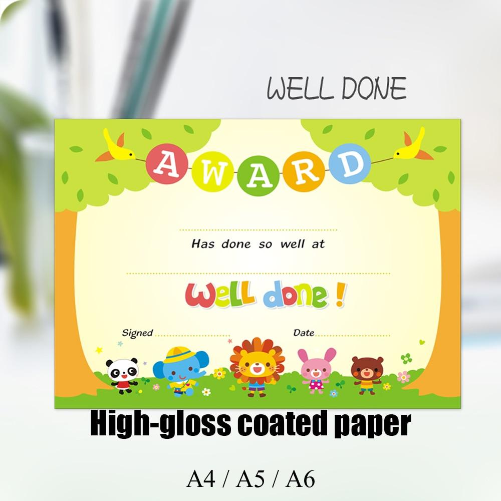 100PCS English certificate Inner Core Primary School Children Creative Praise Letter Kindergarten A4/A5/A6 Certificate paper