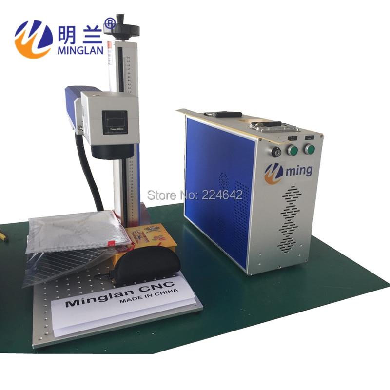 20W fiber laser marking machine on metal/ Minglan with CE FDA CO/ 20W fiber laser engraving machine with rotary/ By Air Sea DHL - 5