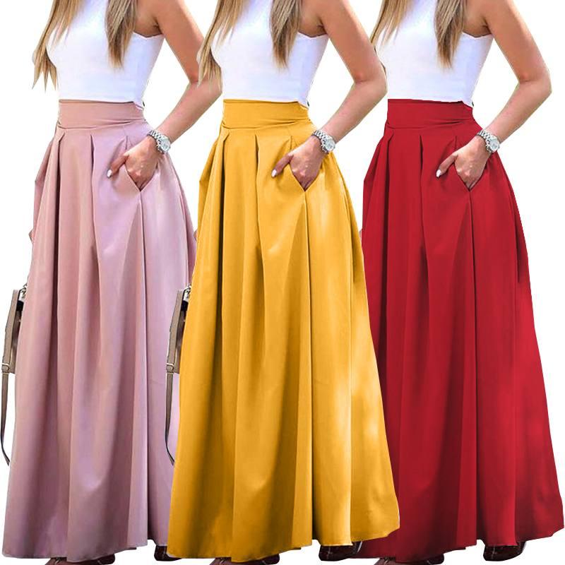 2021 Summer Long Skirts ZANZEA Women Elegant High Waist Skirts Casual Work OL Skirt Maxi Skirt Solid Pleated Faldas Saia Jupe