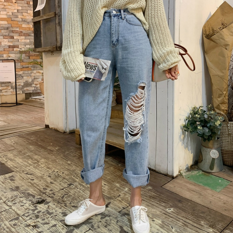 Mozuleva 2020 Summer Casual High Waist Harem Jeans Women Loose Female Denim Jeans Pants Streetwear Ripped Hole Denim Trousers