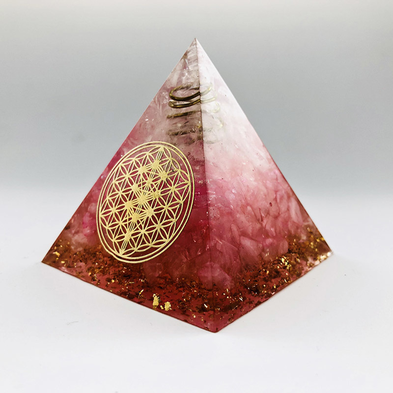 Handmade Crystal Sphere Energy Converter60mm Orgonite Pyramid  Ymbolizing Love Brings Good Luck Orgone Collection EMF Protection
