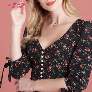 Image 5 - S.FLAVOR Women Vintage Boho Floral Printed Dress 2020 Summer Three Quarter Sleeve V Neck Party Dress Elegant A Line Dress