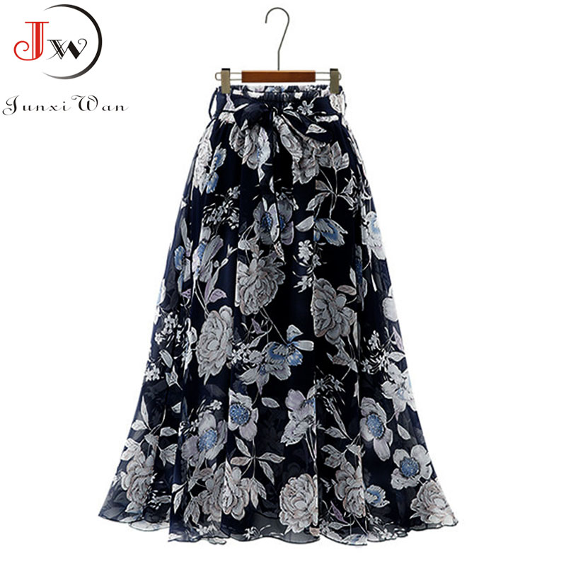 Vintage floral print chiffon skirts women Sprint Summer korean A line Pink streetwear high waist ladies midi skirt 2