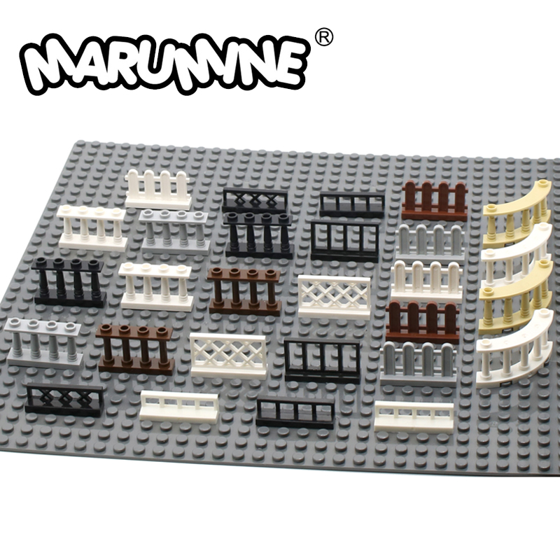 Marumine 30PCS MOC City Accessories Bricks Fence Railing Stairs House Garden Toy Building Blocks Parts