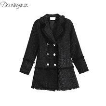 Женская твидовая куртка с воротником плотное черное пальто кисточками