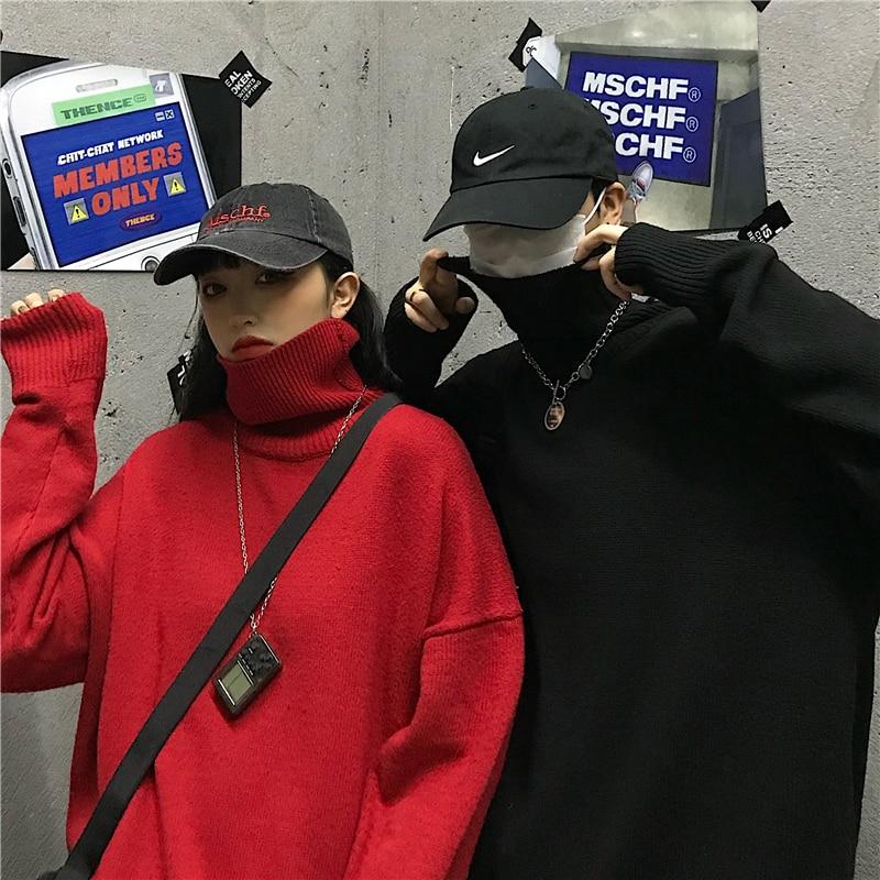 Новинка 2020, зимний модный свободный свитер с высоким воротником в Корейском стиле, женская верхняя одежда, плотный однотонный вязаный Топ