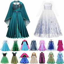 Muababy elsa 1 & 2 vestidos de princesa para meninas febre verde floral maxi vestido de inverno robe rainha anna coroação vestido elsa party wear