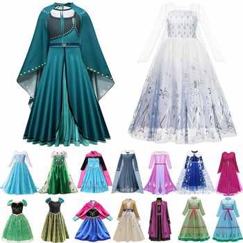 Muababy Elsa 1 i 2 sukienki księżniczki dla dziewczynek gorączka zielona długa sukienka w kwiaty zimowa szata królowa Anna suknia koronacyjna Elsa ubrania imprezowe tanie i dobre opinie COTTON Poliester Mesh CN (pochodzenie) Połowy łydki O-neck Dziewczyny REGULAR Pełna Europejskich i amerykańskich style