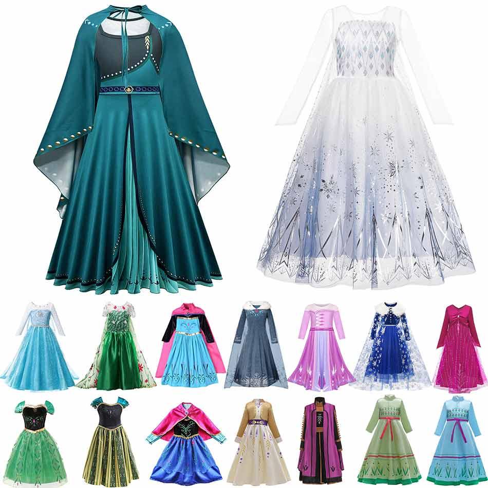 Muababy Elsa 1 y 2 vestidos de princesa para niñas fiebre verde vestid grande Floral invierno traje reina coronación Anna vestido Elsa ropa de fiesta