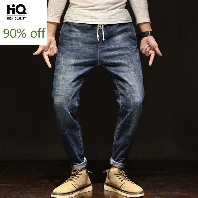 Fashion Stretchy Jeans Men Straight Dark Blue Color Mens Hole Ripped Jeans New Male Pockets Casual Pants Loose Plus Size 28-42