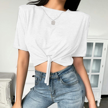 Fashionable temperament woman shoulder pad short sleeves loose temperament T-shirt ladies tie white style OL tops dark blue feather pattern cold shoulder short sleeves t shirt
