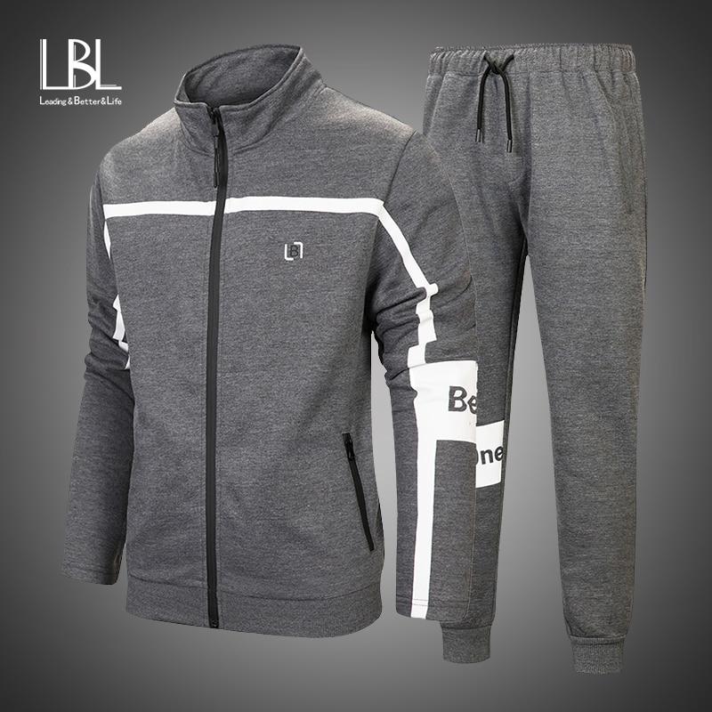 2019 New Men's Autumn Hoodies Brand Tracksuit Set Male Sweatshirt Sweatpants Fashion Trousers High Street Zipper Jackets Sets