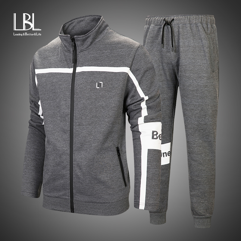 2019 New Men's Autumn Hoodies Brand Tracksuit Set Male Sweatshirt Sweatpants Fashion Trousers High Street Zipper Jackets Sets