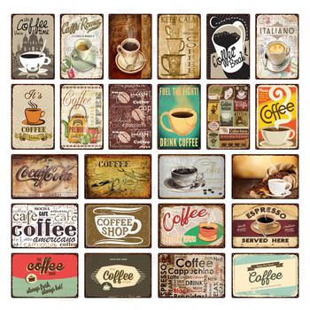 offee Vintage tin Signs Metal Signs Decorative Plaque Retro Plate Cafe Kitchen Living room Coffee Bar Decoration image