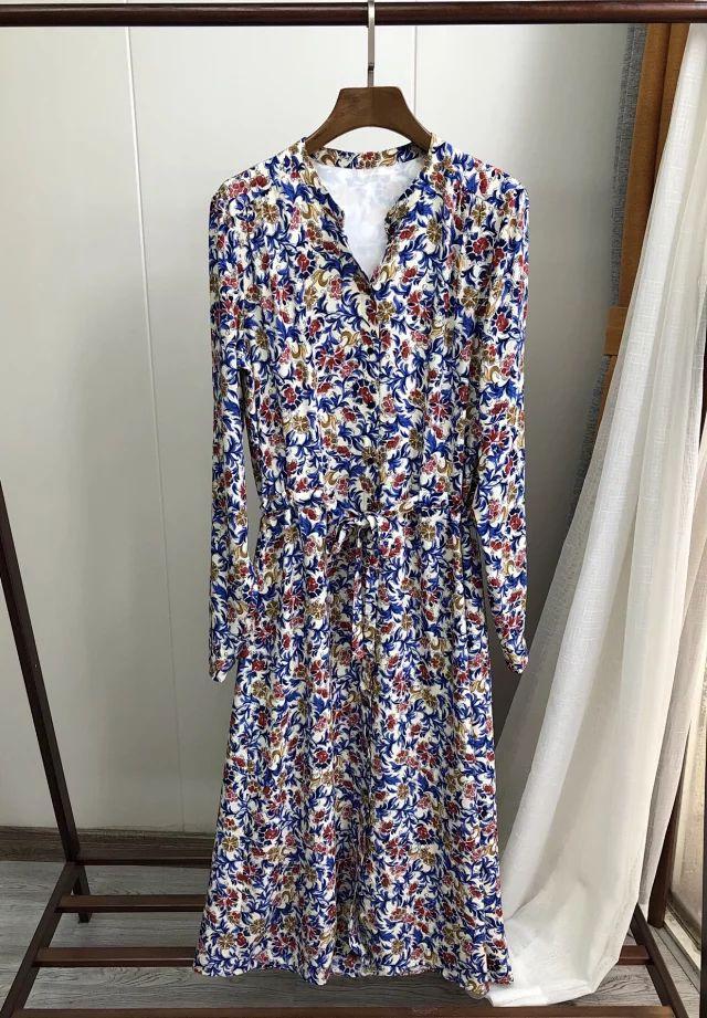 여성 드레스 아랍 캐주얼 드레스 빈티지 인쇄 긴 소매 포도 나무 꽃 미디 드레스-에서드레스부터 여성 의류 의  그룹 1