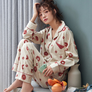 Image 5 - Autumn Winter Cotton Printing Lapel Top + Long Pant 2 Piece Sets Pajamas Set For Women Cute Sleepwear Pyjama Puls Size Homewear