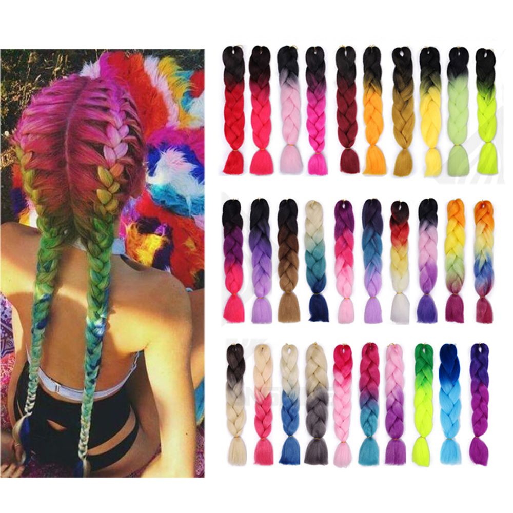 24 Inch Jumbo Extensions Ombre Synthetic Braid Hair Extensions For Crochet Braiding Hair Two Tone Color Colored Hair Wicks
