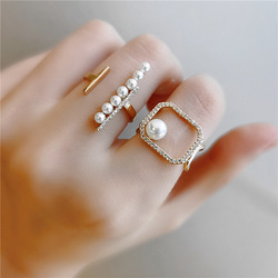 2020 Trendy Style Pearl and Zircon Ring for Women Simulated Pearl Geometric Open Rings Fashion Hollow Jewelry Wholesale