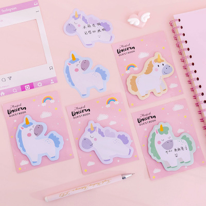 30sheets/1pcs Unicorn Memo Sheets Kawaii Stationery Sticky Notes Cute Planner Stickers Memo Pad Kawaii School Supplies Post-it