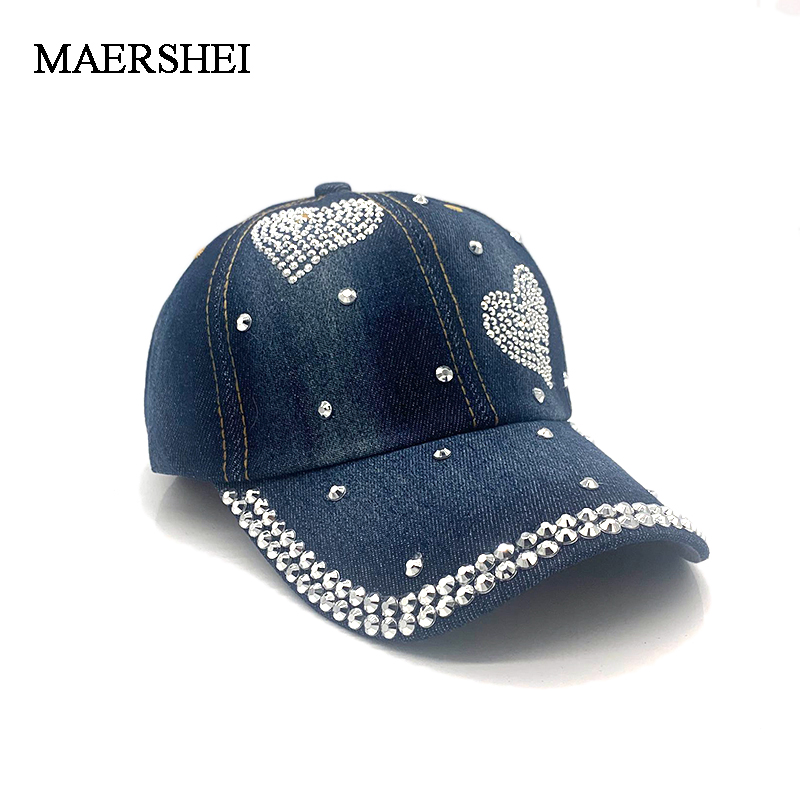 New High Quality Cool Denim Baseball Cap Rhinestone Hip Hop Adjustable Snapback Hat Gorra For Women