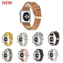 Pulseira de couro para apple watch 6 se 44mm 40mm couro genuíno acessórios de relógio correias para apple watch 6 se 5 4 3 42mm 40mm 38mm