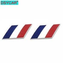 DSYCAR 2Pcs 3D Metall Frankreich Flagge Auto Körper Seite Fender Hinten Stamm Emblem Abzeichen Aufkleber für Peugeot Citroen Renault bugatti DS