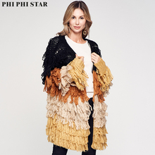 Phi Star Brand 2019 Sweaters Women Fashion Solid Knit Cardigans Sweater Ladies Long Knitted Skirted Outwear Coat