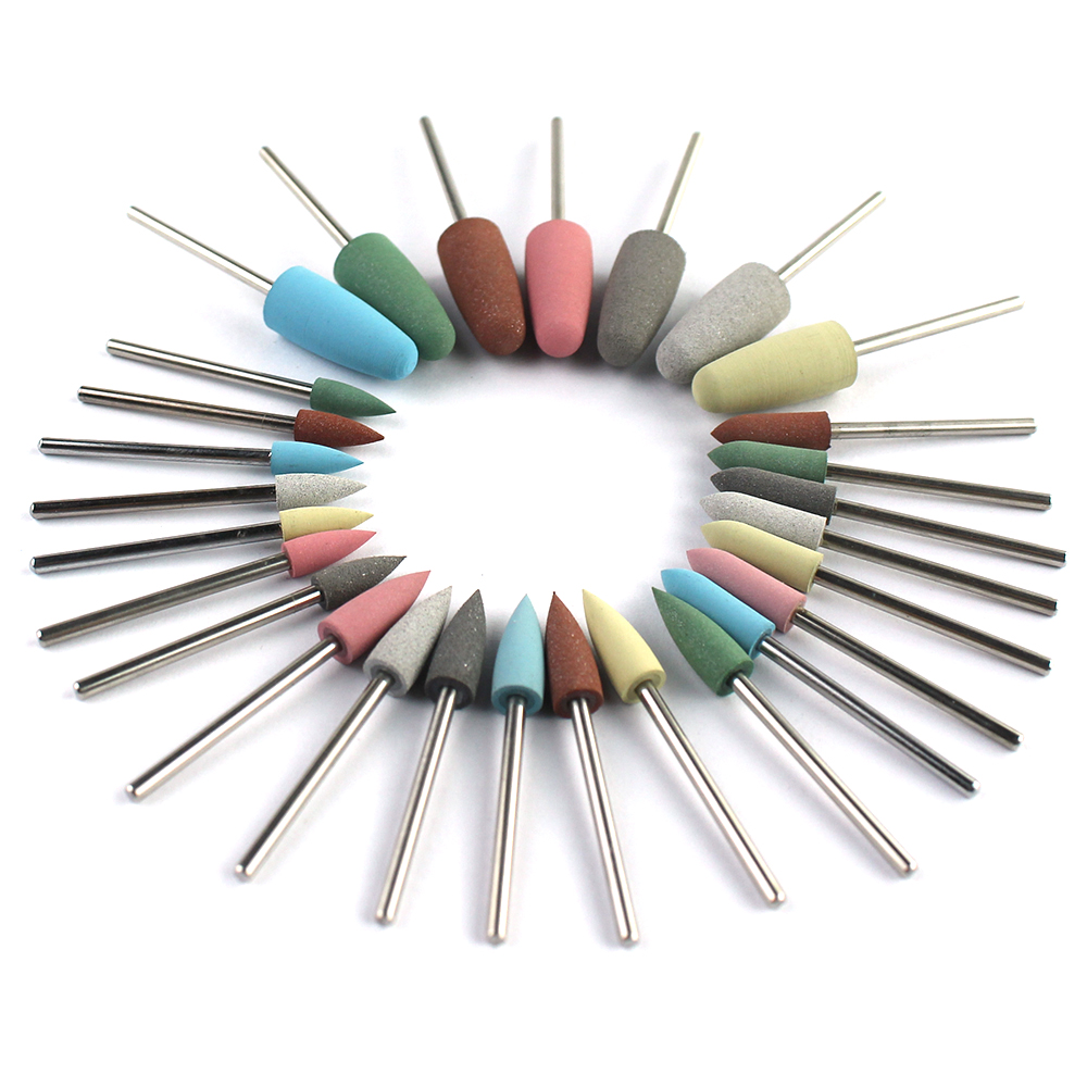 28 Types Rubber Silicone Manicure Drills Bit Rotary Nail Buffer Milling Cutter Burr Foot Polishing Tools Accessories