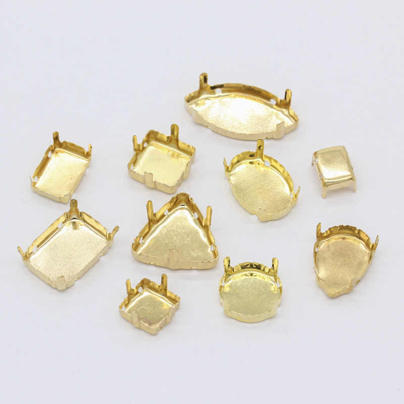 30p جميع شكل و حجم فارغة إعداد قاعدة الذهب مطلي فارغة مخلب ل حامل جواهر الأحجار غرزة على خياطة على كريستال الزجاج الراين
