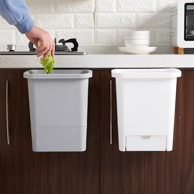 Kitchen Cabinet Door Hanging Trash Garbage Bin Can Rubbish Container Kitchen Accessories SNO88