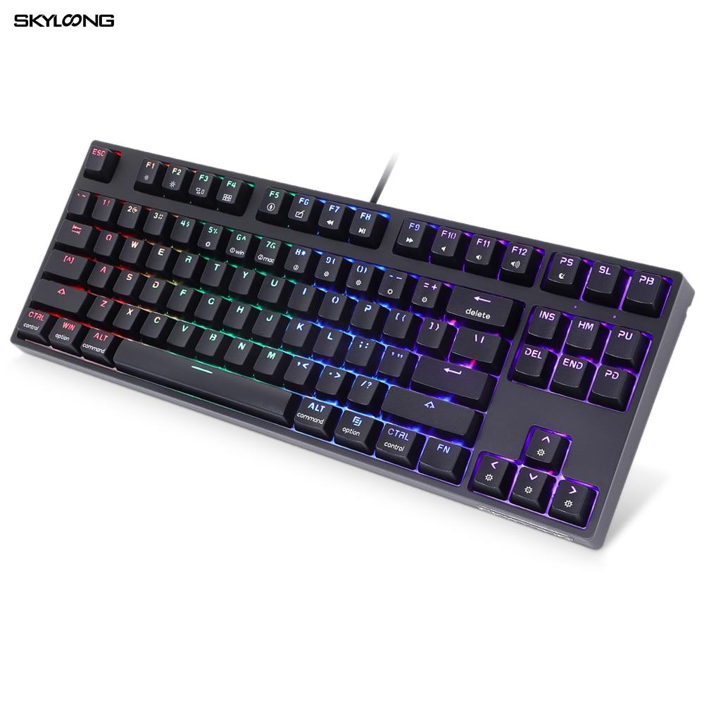 Игровая механическая клавиатура SKYLOONG GK61 SK87, 87 клавиш, клавиатура с горячей заменой, Беспроводная Bluetooth RGB клавиатура с подсветкой, колпачки к...