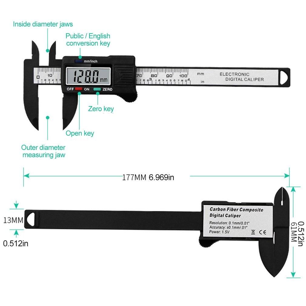 Calibre de exibição digital vernier 0 100mm caliper lcd digital eletrônico vernier bússola micrômetro ferramenta de medição precisão Pinças    -