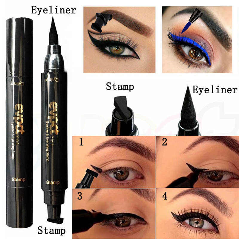 Evpct 2 In1 Delineador Glitter Líquido Selo Selo Asa Fina Maquiagem Eye Liner Pencil 7 Cor Azul Preto Verde Vermelho marrom Olhos Esfumaçados