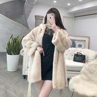 Women's Real Winter Natural Fur Jacket Hooded Long Overcoat Luxury Mink Coat Women Korean 2020 YX206 KJ3862