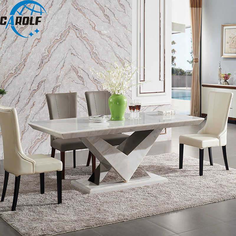 Set 8 Seats Dining Table Marble