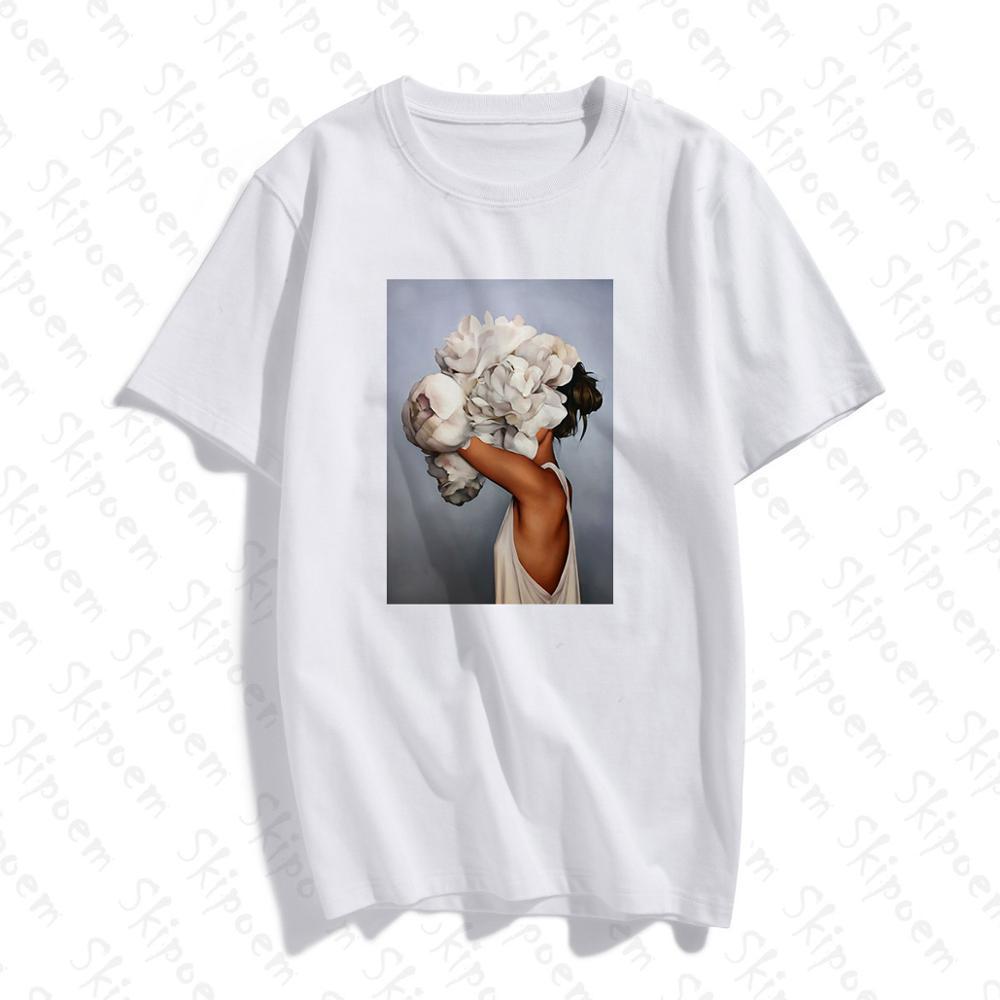 Nowa bawełniana koszulka estetyczna Harajuku Sexy kwiaty nadruk z piór z krótkim rękawem topy i koszulki moda na co dzień para T Shirt 1
