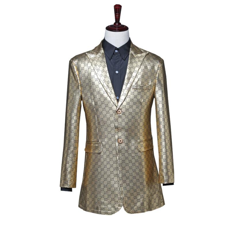 Singer Stage Piano Performance Nightclub Bar DJ Costumes Men's Long Windbreaker PU Champagne Color Suit