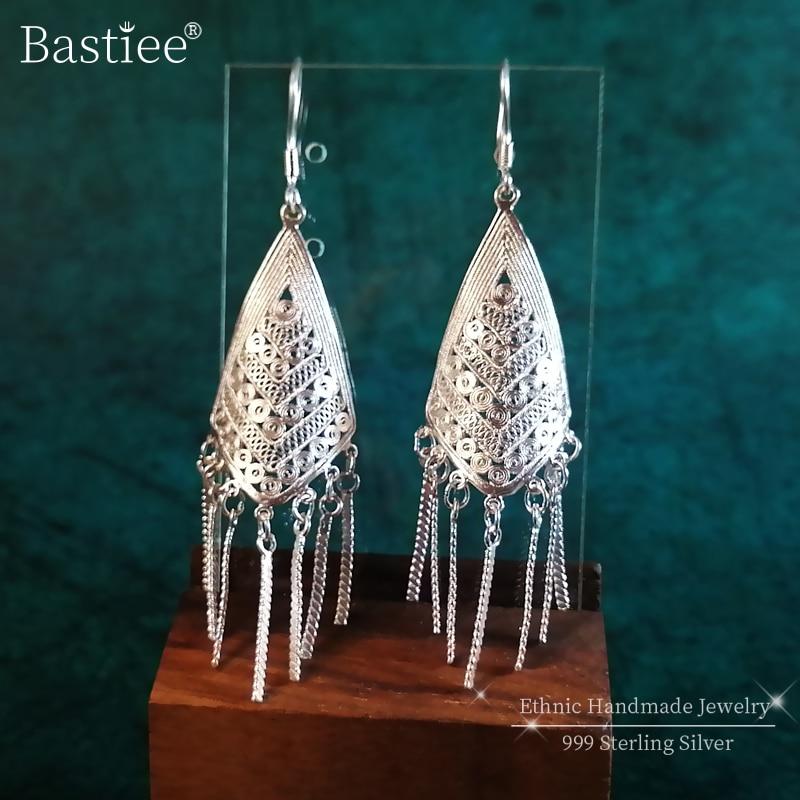 Vintage 999 en argent Sterling bohème boucles d'oreilles pour les femmes goutte grandes boucles d'oreilles glands oreille anneaux à la main de luxe bijoux Boho ethnique