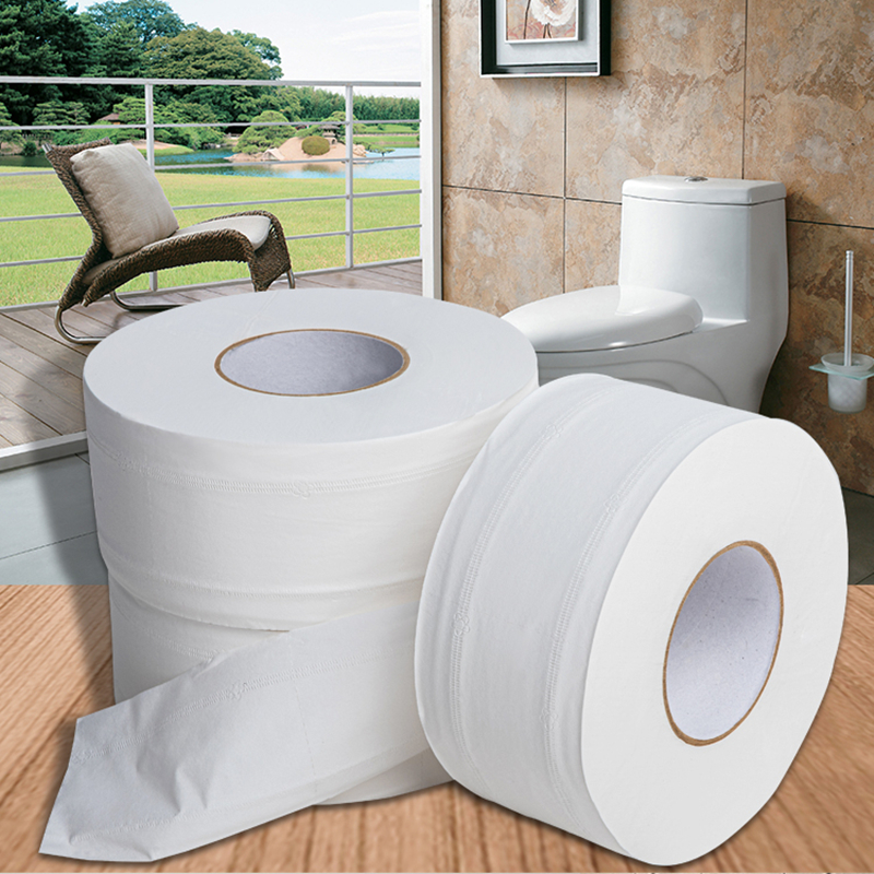 1 Roll Jumbo Roll Toilet Paper 4-Layer Native Wood Soft Toilet Paper Pulp Home Rolling Paper Strong Water Absorption