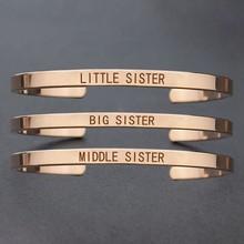 Big medio hermana pequeña familia SIS Pulsera Brazalete Mujer Moda Joyería 6A