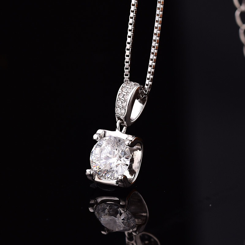 Nature Moissanite 0.5ct-2ct Carat Pendant D-color S925 Sterling Silver Necklace Female Clavicle Chain Women Fine Jewelry