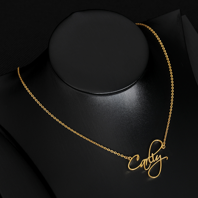 Personalized Custom Scriptina Font Name Necklaces For Women Men Gold Silver Stainless Steel Long Chain Letter Pendant Necklace